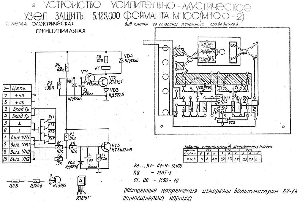 Схемы ФОРМАНТА М100 Схемы